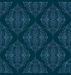vintage blue and cyan ornamental outline curly vector image