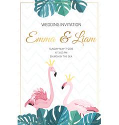 wedding invitation flamingo birds crown king queen vector image