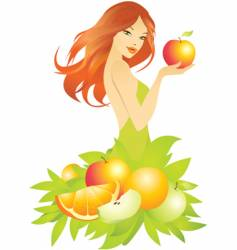 woman apple vector image