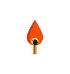 wooden match burning logo flat design fire vector image