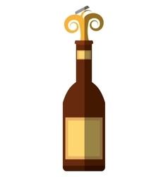 beer bottle drink cap splash shadow vector image