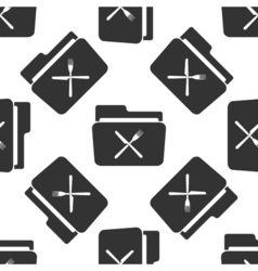 Crossed fork over knife grey folder icon seamless vector
