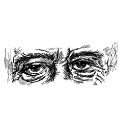eyes of old man with wrinkles vector image