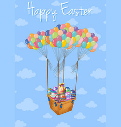 happy easter card with basket of eggs in sky vector image vector image