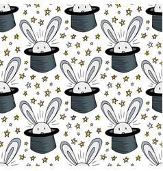 rabbit in hat pattern seamless background for vector image vector image