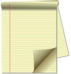 Yellow legal pad corner paper page curl spotlight vector