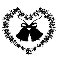 Antique ornament of a heart with bells vector image
