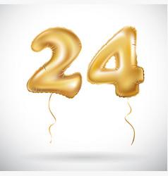 golden 24 number twenty four metallic balloon vector image vector image