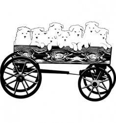 puppies in cart vector image vector image