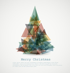 card with abstract retro christmas tree vector image