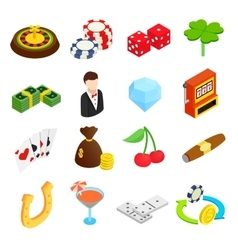 Casino isometric 3d icons vector image vector image
