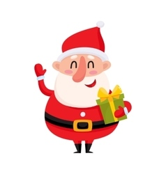 Funny Santa Claus holding Christmas gift and vector image vector image