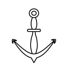 Outline anchor marine nautical sign vector