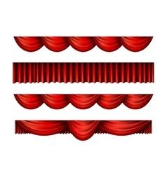 Pelmet red curtains set vector