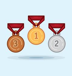 set medal winner award vector image
