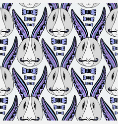 hipster rabbits pattern zentangle creative vector image vector image