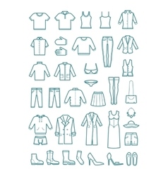 Mens and womens clothes thin line icons vector image