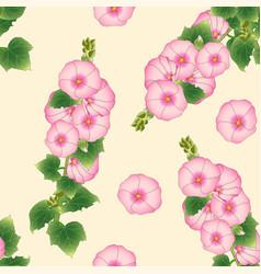 pink alcea rosea - hollyhocks aoi on beige ivory vector image vector image