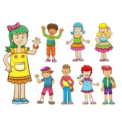 set of cartoon kids vector image vector image