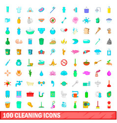 100 cleaning icons set cartoon style vector image