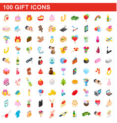 100 gift icons set isometric 3d style vector image