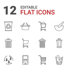 12 basket icons vector image