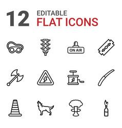 12 danger icons vector