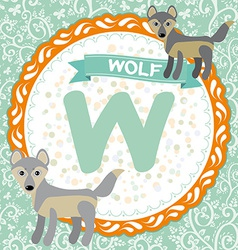 ABC animals W is wolf Childrens english alphabet vector image vector image
