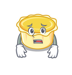 Afraid egg tart mascot cartoon vector