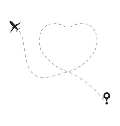 Airplane with love dotted route travel heart line vector