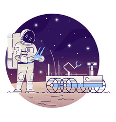 Astronaut with moon rover flat concept icon vector