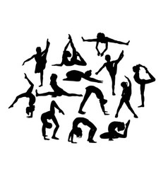 attractive and happy kids silhouettes vector image