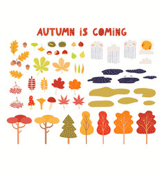 Autumn landscape clipart collection tree leaves vector