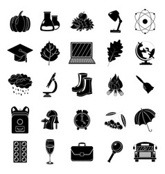 Autumn school icon set black and white style vector