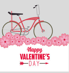 Bicycle transport vehicle to celebrate valentine vector