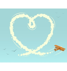 Biplane with heart shape vector image