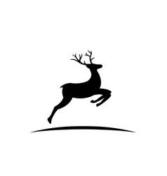 black silhouette reindeer with antlers vector image
