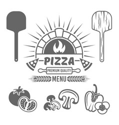 brick oven and pizza black emblem or label vector image