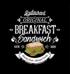 Burger sandwich logo design for brand label food vector