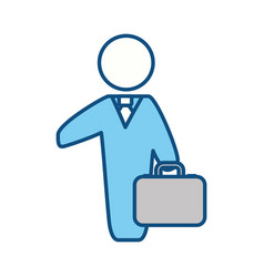 Businessman with briefcase pictogram vector