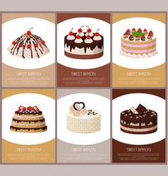 Cakes variety page online shop vector
