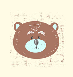 Card with cute bear for vector