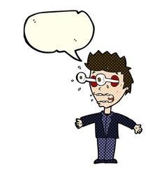cartoon staring man with speech bubble vector image