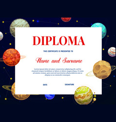 Child education diploma template with planets vector