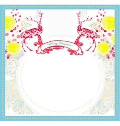 Christmas Ornament with red reindeer vector