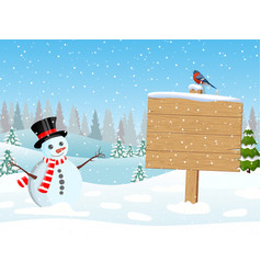 christmas snowman with wooden sign and pine trees vector image