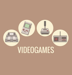 classic videogames and console icons vector image