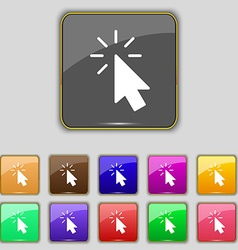 Cursor icon sign Set with eleven colored buttons vector