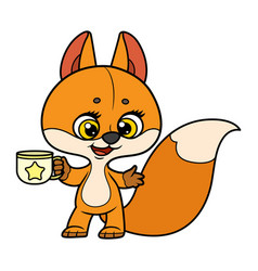 cute cartoon baby fox holding a cup in pawscolor vector image