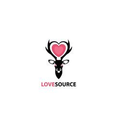 deer love source alters logo concept vector image